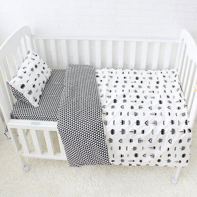 Black Crown 3Pcs Baby Bedding Set - 100% cotton