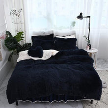 Load image into Gallery viewer, Fluffy Faux Lambswool Bed Set (4/6/7 pcs) - Dark Blue