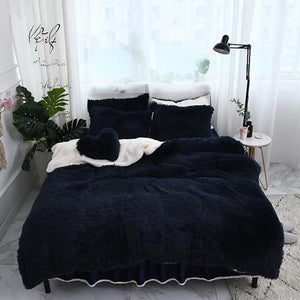 Fluffy Faux Lambswool Bed Set (4/6/7 pcs) - Dark Blue