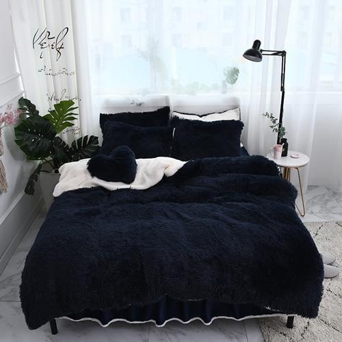 Fluffy Lambswool Quilt Cover Only or with Pillowcases - Dark Blue