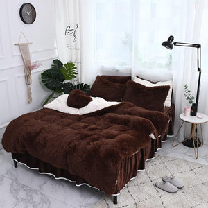 Fluffy Faux Lambswool Quilt Cover Only or with Pillowcases - Dark Brown