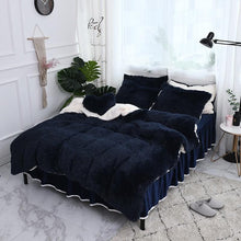 Load image into Gallery viewer, Fluffy Faux Lambswool Quilt Cover Only or with Pillowcases - Dark Blue