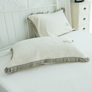 Tassels Faux Lambswool Velvet Bed Set
