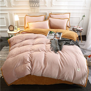 Flannel Velvet Faux Lambswool Bedding Set - Blush Pink