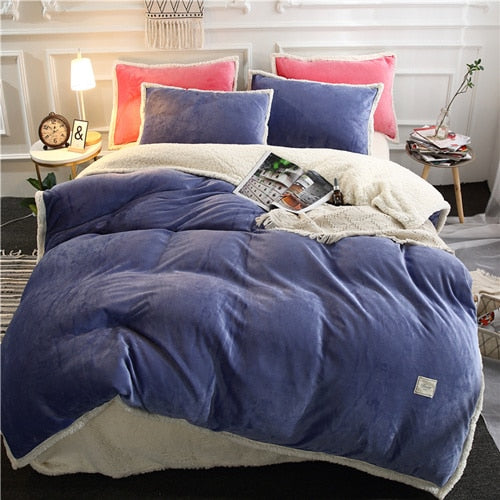 Flannel Velvet Faux Lambswool Bedding Set - Dark Blue