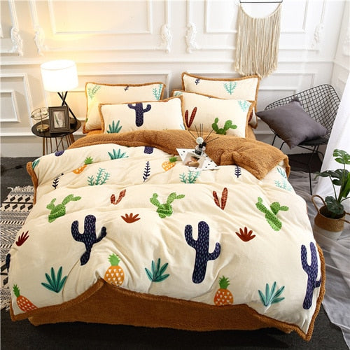 Flannel Velvet Faux Lambswool Bedding Set - Cactus