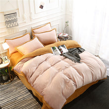 Load image into Gallery viewer, Flannel Velvet Faux Lambswool Bedding Set - Blush Pink