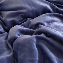 Load image into Gallery viewer, Flannel Velvet Faux Lambswool Bedding Set - Dark Blue