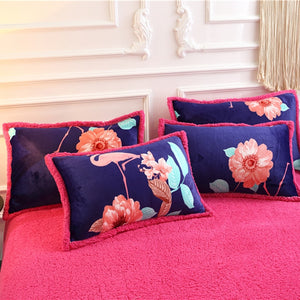 Flannel Velvet Faux Lambswool Bedding Set - Flamingo Flowers