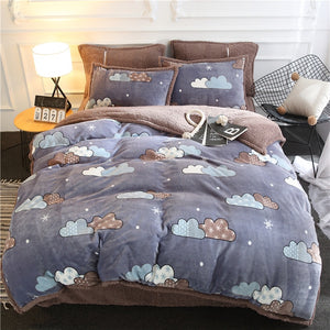 Flannel Velvet Faux Lambswool Bedding Set - Clouds
