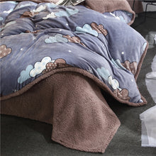 Load image into Gallery viewer, Flannel Velvet Faux Lambswool Bedding Set - Clouds