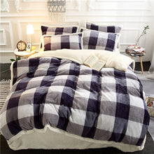 Load image into Gallery viewer, Flannel Velvet Faux Lambswool Bedding Set - Checkered