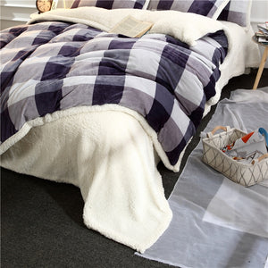 Flannel Velvet Faux Lambswool Bedding Set - Checkered
