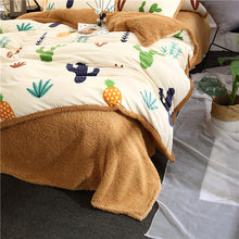 Load image into Gallery viewer, Flannel Velvet Faux Lambswool Bedding Set - Cactus