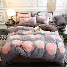 Load image into Gallery viewer, Flannel Velvet Faux Lambswool Bedding Set - Poppy