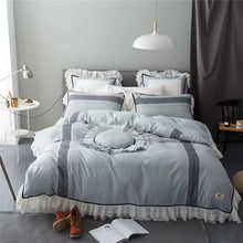 Load image into Gallery viewer, Bamboo Cotton Luxury Grey Lace Bedding set