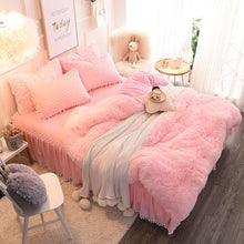 Load image into Gallery viewer, Fluffy Velvet Fleece Quilt Cover and Pillowcases Set - Soft Pink