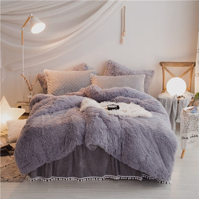 PomPom Fluffy Mink Fleece Bed Set - Soft Grey