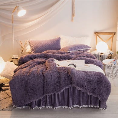 PomPom Fluffy Mink Fleece Bed Set - Grey Purple