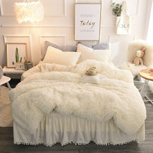 Load image into Gallery viewer, PomPom Fluffy Mink Fleece Bed Set - Cream