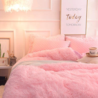 Fluffy Velvet Fleece Quilt Cover and Pillowcases Set - Soft Pink
