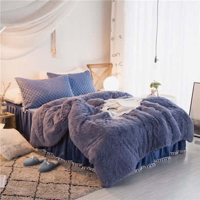 Fluffy Velvet Fleece Quilt Cover and Pillowcases Set - Blue
