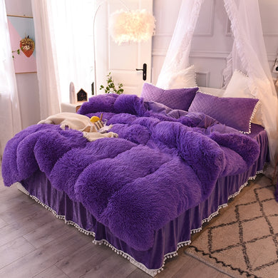 Fluffy Velvet Fleece Quilt Cover and Pillowcases Set  - Purple