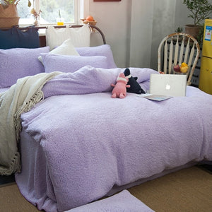 Thick Double sided Faux Lambswool Fleece Bed Set - Many Colours