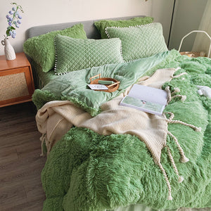 Fluffy Faux Mink & Velvet Fleece Bed Set - Soft Green