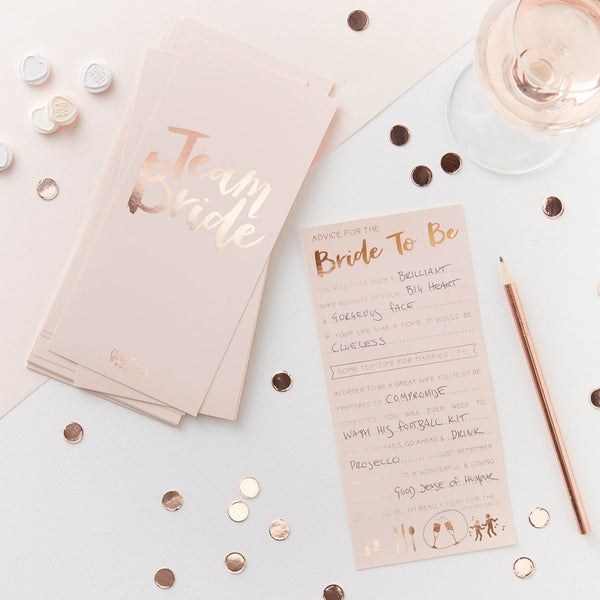 Pink & Rose Gold Advice Cards - Team Bride (Pack of 10)