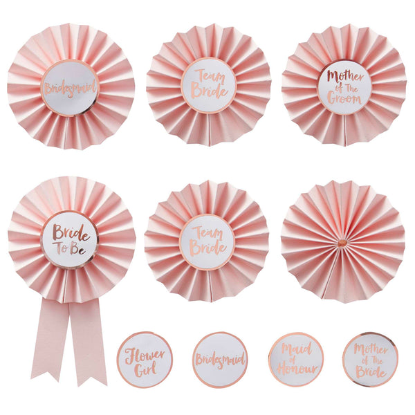 Pink & Rose Gold Hens Party Badges- Team Bride (6 pack)
