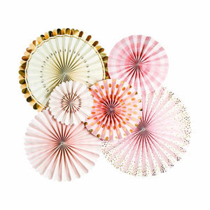 Pink & Gold Party Fans (6 Pack)