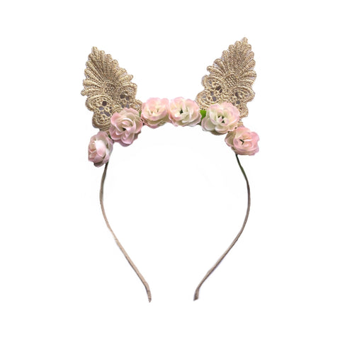 Champagne Lace Easter Bunny Ears - Floral