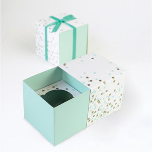 Mint Confetti Cupcake Box (6 pack)