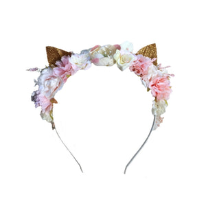 Flower Headpiece Kitty Cat Ears - Headband