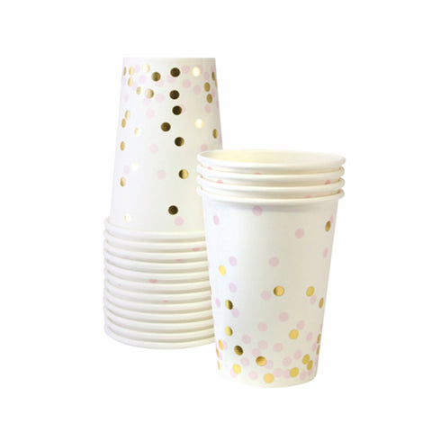 Pink & Gold Confetti Party Cup (12 pack)