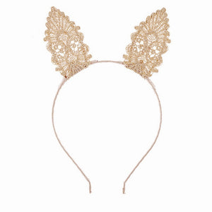 Champagne Lace Easter Bunny Ears - Headband