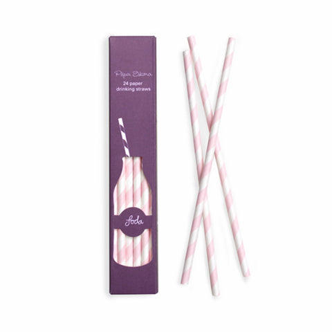 Marshmallow Pink Paper Straws (24 pack)