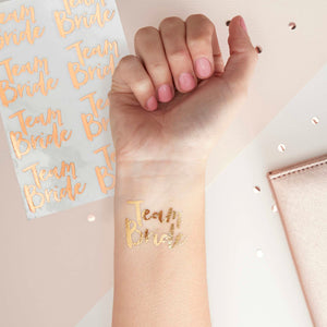 Rose Gold Hens Party Temporary Tattoos - Team Bride (16 pack)