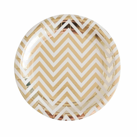 Chevron Gold Dessert Plate (10 pack)