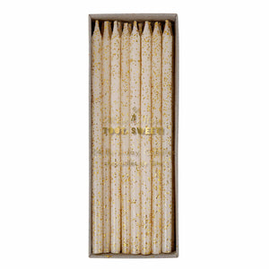Gold Glitter Long Candles (24 pack)
