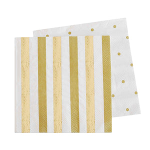 Gold Stripes & Dot Cocktail Napkins (20 pack)