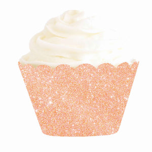 Rose Gold Glitter Cupcake Wrapper (12 pack)