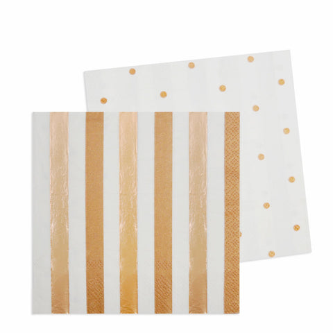 Rose Gold Stripes & Dots Cocktail Napkin (20 pack)
