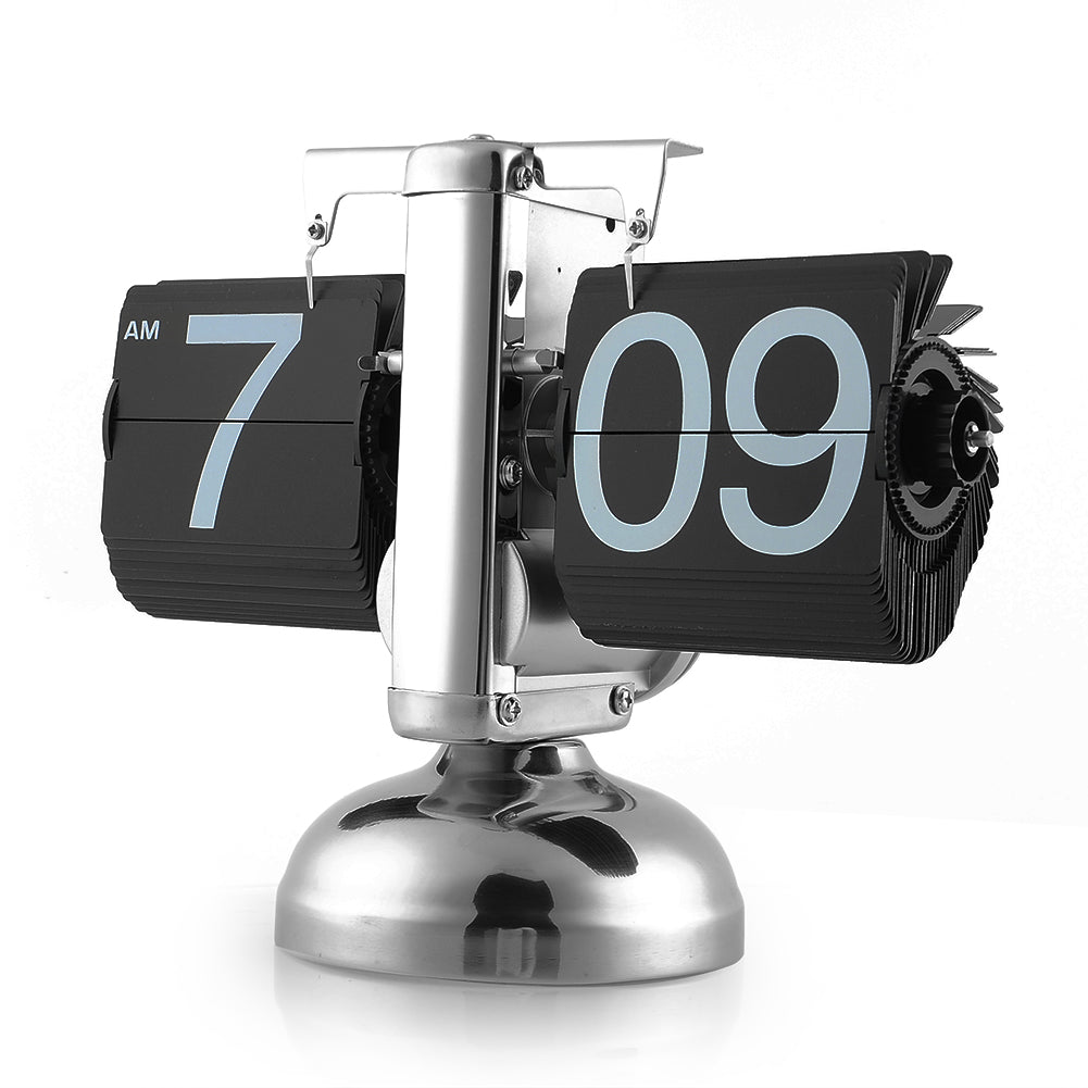 Retro Digital Flip Down Clock Internal Gear Operated Black