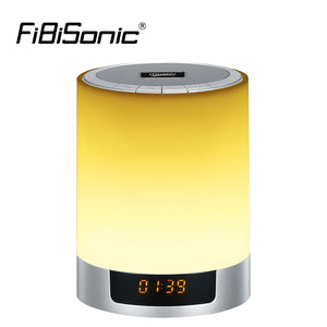 Night Lights Wireless Bluetooth Speaker Touch Sensor LED Bedside Lamp Dimmable Warm Light&Color Changing with Alarm Clock