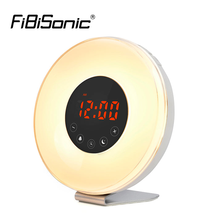 Touch Control Wake Up 7 Color LED Light Sunrise Simulation Alarm Clock With 6 Natural Sounds FM Radio Snooze Sunset Alarm Clocks