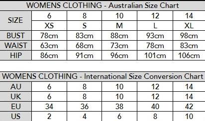Milk Fashion Boutique Size Chart.