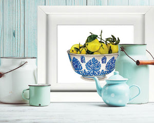 Lemons and pears and classic blue and white china