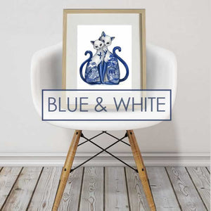 PRINTS - BLUE & WHITE
